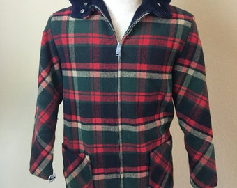 Vintage 1950's 60's red & green Jacmates hipster plaid hooded wool coat S