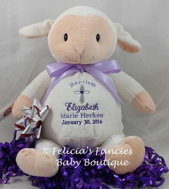Personalized baby baptism gift stuffed animal lamb like this item negle Images