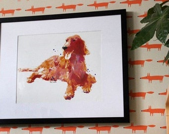 Irish Setter    Fire Red Irish Setter    Red the Irish Setter    Dog Art    Watercolor