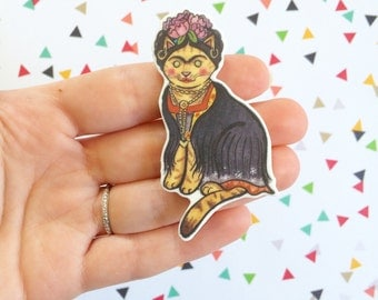 Frida Kahlo Cat Brooch Frida Kahlo Cat Pin -  cat pin - Halloween Pin - cat jewelry-Unique Boutonnière