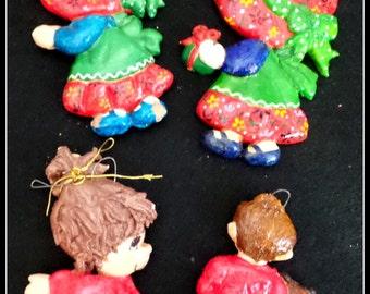 Vintage Christmas  Dough Art Ornaments