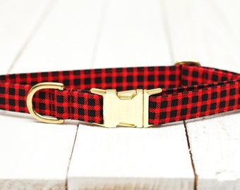 Red Buffalo Plaid Dog Collar- Red and Black Check, Metallic Gold, Special Occasion, Pets, Winter  - Metal Buckle