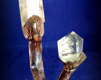 Budding, A Dual-Pointed Citrine Crystal Wand