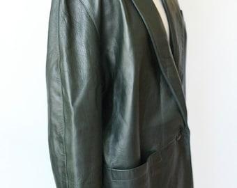 Vintage Dark Green Leather Blazer / Oversize Mid Length Leather Jacket / Siena Leather Coat