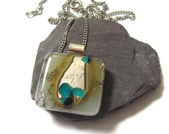 Dichroic, Fused glass pendant, Necklace,Vanilla Bronze, Aqua, Sterling silver bail, For her, Birthday jewellery NL778, square necklace