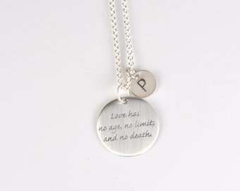 quote necklace, Love has no age no limit, quote jewelry, personalized meaningful gift silver, love 7PM Boutique Silver initial pendant