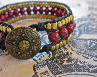 Ruby Red and Gold Beaded Cuff Bracelet, Single Wrap Bracelet, Gift for Her