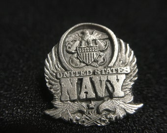 "Vintage 1990s ""United States NAVY"" Siskiyou Pewter Pin (Made in USA)"