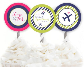 Custom Travel Cupcake Toppers, Travel Bridal Shower Decorations, Lime & Navy Bridal Shower, Airplane Cupcake Toppers, Printable Toppers, #31