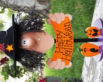 Witchy Witch and Her Pumpkins 2 - Wood Halloween Decoration - Table Sitter Sign