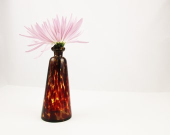Murano Style - Leopard Print Glass Vase - Elegant Shape With Flat Lip - Pencil Neck With Stretched Glass - Reddish-brown Coffee Color