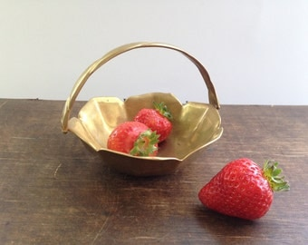 Small brass basket Made in NorwayGolden metal basket Scandinavian brass basket Footed brass basket