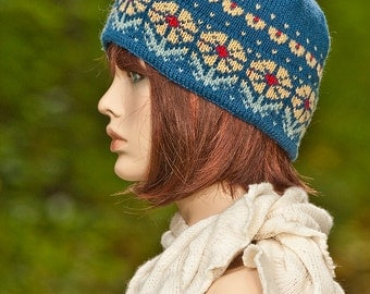 Hand knitted fair isle hat, jacquard hat, indigo, red, yellow colors, winter hat, for women, for girls, double brim, woolen hat,