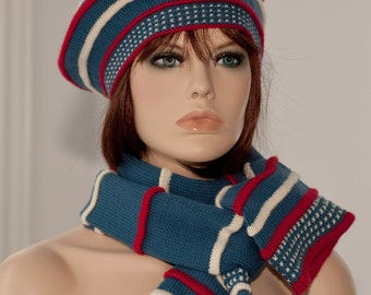Knitted set: beret and tube scarf, indigo color, colored pleats red and white, woolen, winter, for women, for girls.