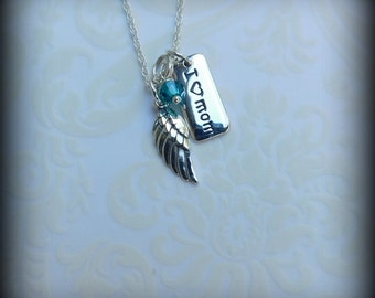 Sterling silver Angel wing necklace, memorial necklace, spiritual jewelry, dainty necklace