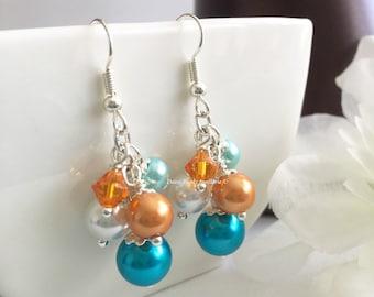 Turquoise and Orange Earrings, Orange Earrings, Chunky Earrings, Turquoise and Orange Pearl Earrings, Bridesmaid Earrings, Beach Wedding