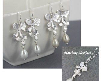 Silver Orchid and Teardrop Necklace and Earrings, Bridesmaid Jewelry, Pearl Dangle Earrings, Orchid Earrings, Maid of Honor Gift