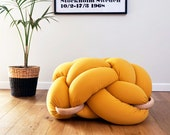 Large Knot Floor Cushion in Mustard, Knot Floor Pillow, Modern pouf, cushion, pouf ottoman, Meditation Pillow,