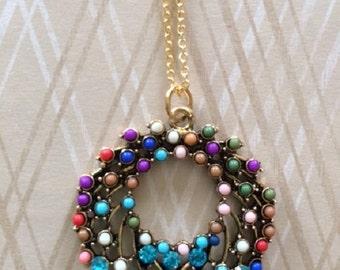 Beaded Necklace - Beaded Jewelry - Beaded Jewlery - Beaded Jewelery - Stone Pendant - Stone Necklace - Stone Jewelry - Circle Necklace