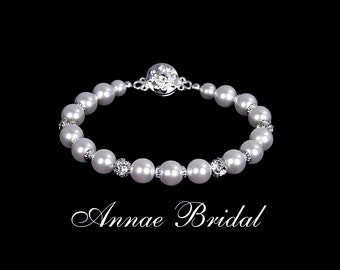 """Bridal jewelry, wedding, White pearl and rhinestone bracelet, Swarovski, silver """"Devotion"""" bracelet"""