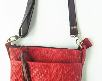 Red leather crossbody bag, or shoulder bag,  in woven look leather.