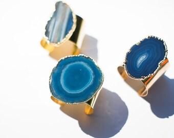 blue agate bracelet - agate cuff - stone cuff bracelet