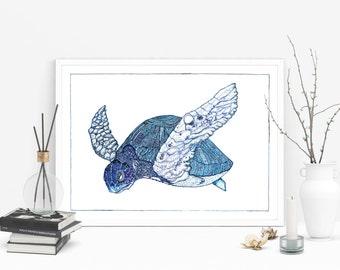 Turtle Giclée Print of Original Ink Illustration