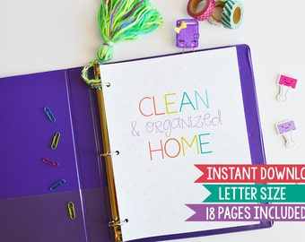Cleaning Checklist, PRINTABLE Cleaning Schedule, Letter Size, 18 Sheets, Instant Download