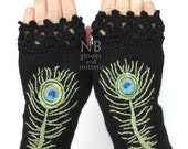 Knitted Fingerless Gloves, Peacock Feather, Black, Green, Blue, Clothing And Accessories, Accessories, Gloves & Mittens, READY TO SHIP