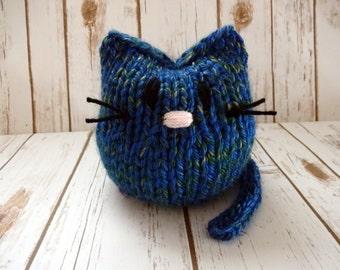 Plump Blue Stuffed Kitty, Hand Knit Cat, Children's Stuffed Toy, Soft Plushie, Baby Shower, Nursery Decor, Chunky Knit