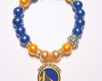 Golden State Warriors Bracelets, Basketball Bracelets, Team Bracelets, Stretchy, Womens Bracelets, Handmade, Custom