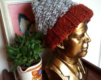 Slouchy Handmade Chunky Knit Hat - 'Rust and Marble Grey' -