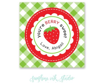 Valentines for Kids - Strawberry Valentines - Berry Sweet Valentines - Printable Valentines - Classroom Valentines - Candy Valentines