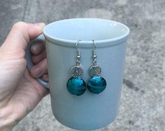 Handmade Teal Aztec Dangle Earrings