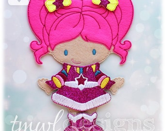 Space Pink Dress Felt Paper Doll Toy Outfit Digital Design File - 5x7