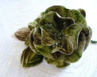 Beige Moss Sage Green Ombre Velvet Rose Millinery Flower for Hats, Corsage, Crafts, Hair Clip 3FN0080G1