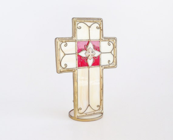 Stained Glass Brass Cross Candle Holder by SunshineSurprises