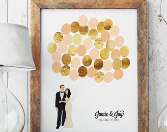 Wedding Portrait Guestbook Alternative for Unique Wedding Reception Sign for Guest Signatures with Couple Illustration Gold Guestbook