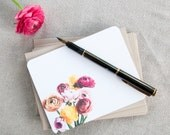 Note Cards Set,  Stationery Set of Personalized Notecards - Ranunculus Flowers Stationary