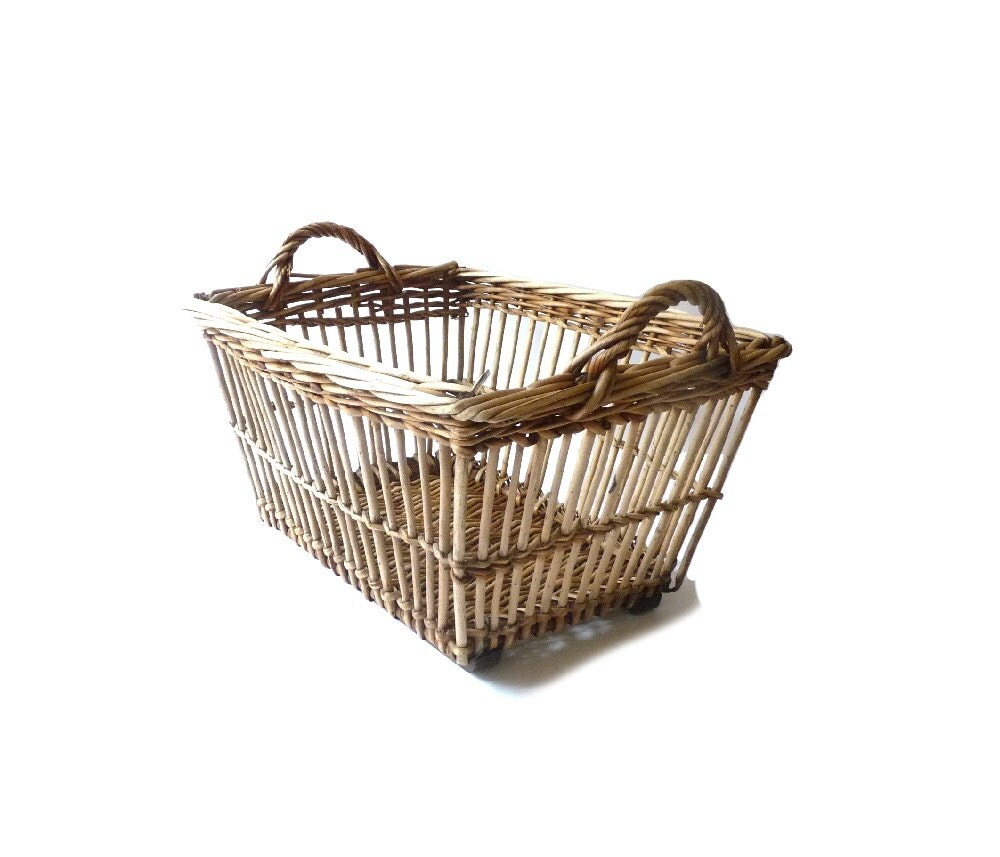 Vintage Wicker Basket Home Decor Basketry French Country Decor
