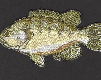 Green Sun Fish Embroidered Iron On Applique Patch