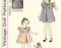"""KRVP-PR9632PP, 18"""" American Girl, Vintage 1920's Dress PATTERN, Printed Pattern"""