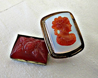 Antique Victorian Bohemian Glass Cameo Cabochons, Jewelry Carnelian Glass Cabochons Ca 1800s, Floral Cab