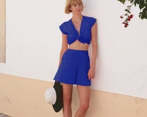 Ava Crop Top and Shorts Set. Vintage Style Dress. Tie Up Top. High Waisted Culottes. Beach Shorts. Holiday Outfit Summer Clothes. Royal Blue