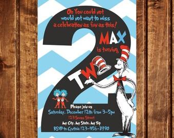 Cat in the Hat Invitation, Dr. Seuss Invitation, Cat in the Hat Party, Cat in the Hat, Dr. Seuss Party, Dr. Suess, Chevron Invitation