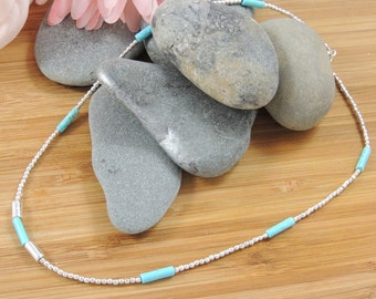 Turquenite And Silver Necklace