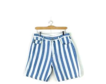 Vintage Light Blue x White Stripe Denim Shorts from 1980's/W30*