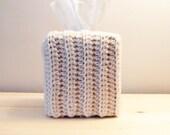 CrochetTissue Box Cover Kleenex Cover Tissue Box Holder Tissue Holder Crocheted Tissue Cover Kleenex Holder Off White Cream