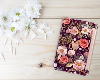 Platinum Edition Midnight Floral Medley with Rose Gold Detailing Hybrid Smart Cover Hard Case for the iPad Air 2, iPad mini 4 , iPad Pro
