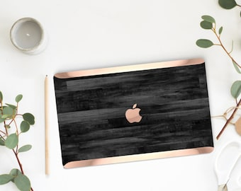 Platinum Edition Untreated Black Wood and Rose Gold Detailing Hybrid Hard Case for Apple Mac Air & Mac Pro Retina, Macbook 12""